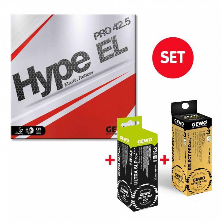 GEWO GEWO Belag Hype EL Pro 42.5 + je 1x3er Select Pro 40+ und Ultra