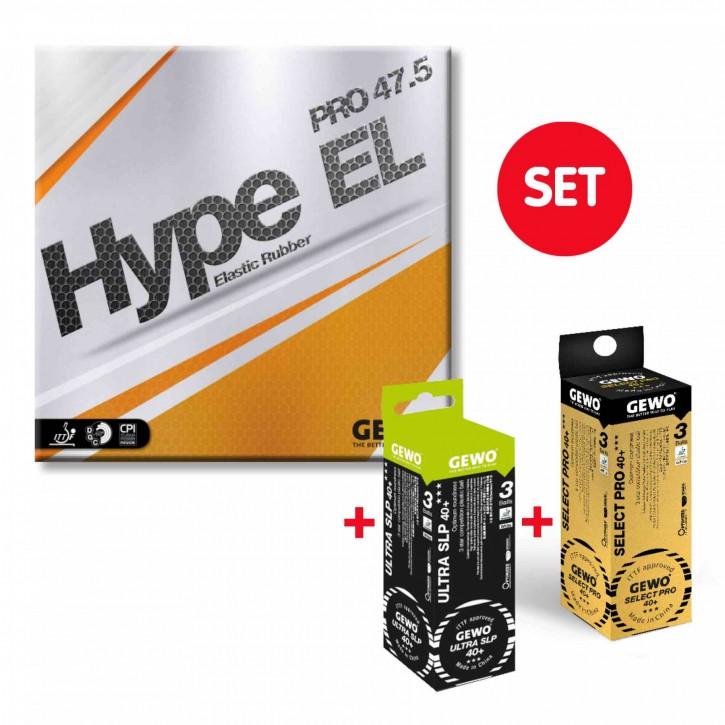 GEWO Belag Hype EL Pro 47.5 + je 1x3er Select Pro 40+ und Ultra SLP 40+