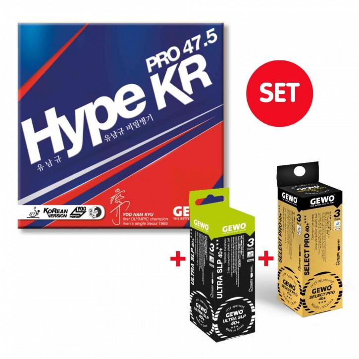 GEWO Belag Hype KR Pro 47.5 + je 1x3er Select Pro 40+ und Ultra SLP 40+