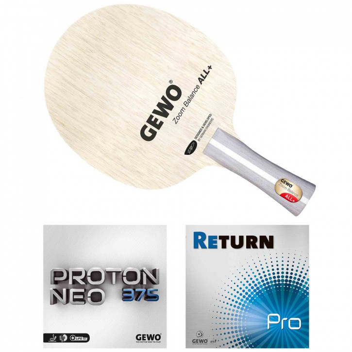 GEWO Schläger Zoom Balance mit Proton Neo 375 1,8+Return Pro 1,6